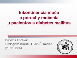 Inkontinencia moču a poruchy močenia u pacientov s diabetes mellitus