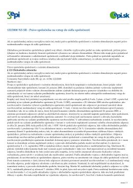 122/2000 NS SR - Právo spoločníka na vstup do sídla spoločnosti