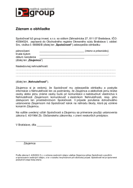 Záznam o obhliadke - B2 group s. r. o.