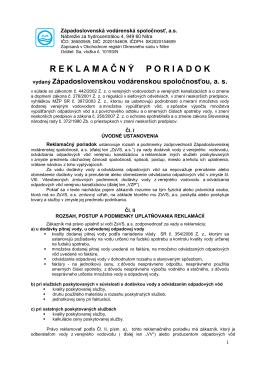 Reklamačným poriadkom ZsVS, a.s.