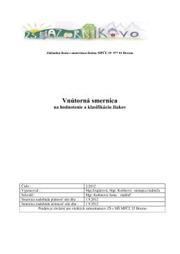 Vnútorná smernica - Základná škola s materskou školou MPČĽ 35
