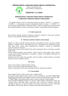Smernica č. 1/2010 o vybavovaní sťažností, žiadostí a iných podaní.