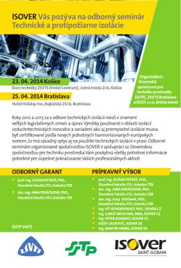 ISOVERVás pozýva na odborný seminár Technické a protipožiarne