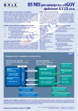 IIS MIS pre samosprávy a eGOV spoločnosť A.V.I.S.s.r.o.