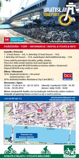 pOžičOvňa – túry – infOrmáCie / rental & tOurs & infO vitajte Cyklisti