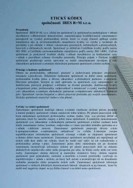 ETICKÝ KÓDEX spoločnosti IRES R+M s.r.o.