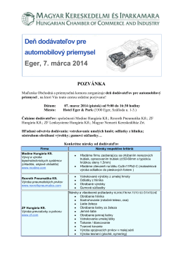 Deň dodávateľov pre automobilový priemysel Eger, 7. márca 2014