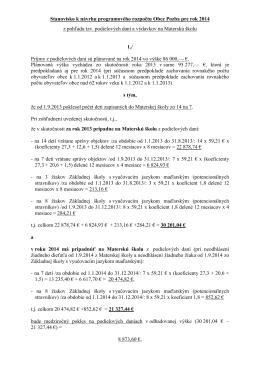 Stanovisko hlavného kontrolóra k návrhu programového rozpočtu