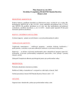 Plán činnosti na rok 2014 Strediska Evanjelickej DIAKONIE Banská
