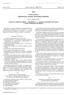 Vyhláška č. 253/2010 Z. z.