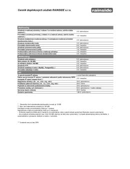 Cenník doplnkových služieb RAINSIDE s.r.o.