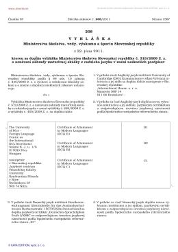 vyhláška č. 208/2011 Z. z.