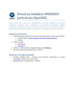 Návod na inštaláciu WHERIGO prehrávača OpenWIG.