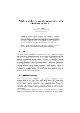 Podniková inteligencia, analytika a proces objavovania znalostí v