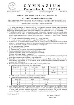 Kritériá pre prijímanie ŽIAKOV 5. ROČNÍKA ZŠ pre školský rok 2015