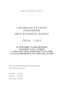 všeobecne záväzné nariadenie obce bátorove kosihy číslo: 1/2013
