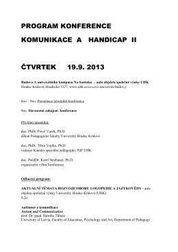 program konference komunikace a handicap ii čtvrtek 19.9. 2013