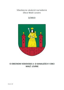 VZN 2 / 2013 o obecnom vodovode a o obecnej kanalizácii v obeci