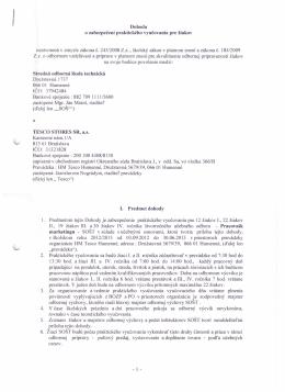 Dohoda s TESCO STORES SR, a.s.