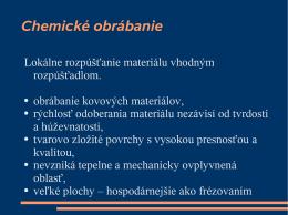 Chemické obrábanie - Vitajte na stránke vyrzar.wbl.sk.