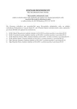 Zoznam rozhodcov pre spotrebiteľské rozhodcovské konanie (.pdf)