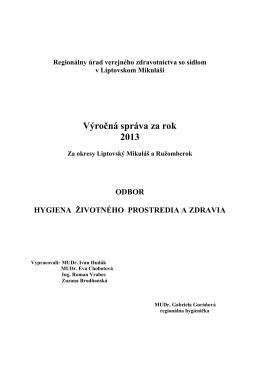 Výročná správa za rok 2013 - RÚVZ so sídlom v Liptovskom Mikuláši