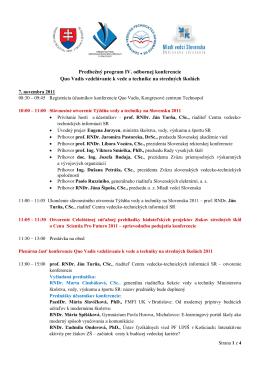 Predbeţný program IV. odbornej konferencie Quo Vadis vzdelávanie