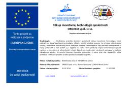 Nákup inovatívnej technológie spoločnosti ORGECO spol. s r.o.