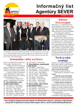 Informačný list Agentúry SEVER - Agentúra pre regionálny rozvoj