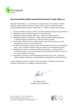 Environmentálna politika spoločnosti Duropack Turpak Obaly a.s.