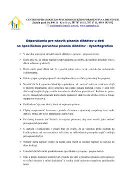 Odporúčania pre nácvik písania diktátov u detí so špecifickou