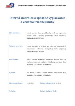 Interná smernica o spôsobe vypisovania a vedenia triednej knihy