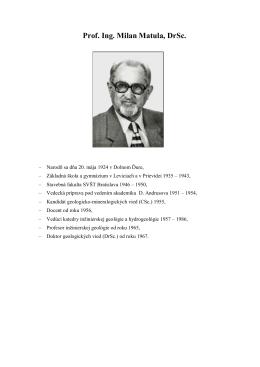 Prof. Ing. Milan Matula, DrSc.