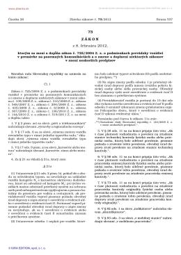 73/2012 - Ministerstvo dopravy, výstavby a regionálneho rozvoja SR