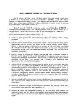Novela zákona č. 98/2004 Z. z. o spotrebnej dani z minerálneho