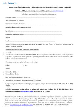 """Konferencia """"Úskalia diagnostiky a liečby inkontinencie"""", 22.11"""