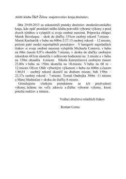 Dňa 15.09.2013 sa mladší žiaci a prípravkáry ŠKP Žilina zúčastnili