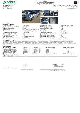 Číslo protokolu: ald−sk−euro−409 Dátum obhliadky: 19. 09. 2014