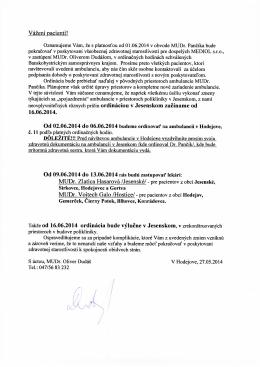 Vážení pacienti! 16.06.2014. MUDr. Zlatica Hasarová /Jesenské