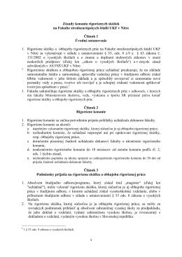 Zásady konania rigoróznych skúšok na Fakulte stredoeurópskych