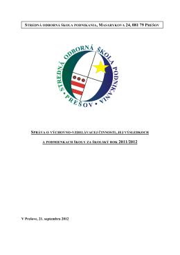 V Prešove, 21. septembra 2012 - Stredná odborná škola podnikania