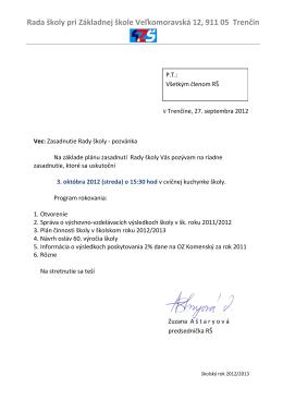 pozvánka 3.10.2012 - Základná škola, Veľkomoravská 12, Trenčín
