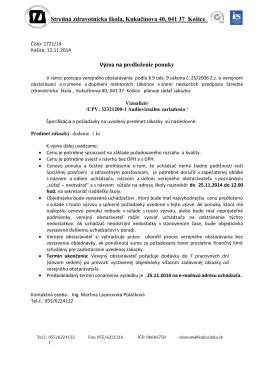 Stredná zdravotnícka škola, Kukučínova 40, 041 37 Košice Výzva na