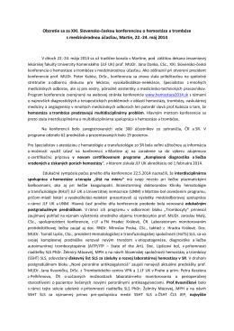Obzretie sa za XXI. Slovensko-českou konferenciou o hemostáze a