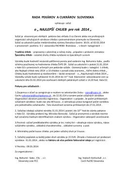 NAJLEPŠÍ CHLIEB pre rok 2014 - Cech pekárov a cukrárov regiónu