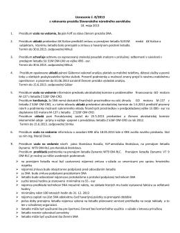Uznesenie č. 8/2013 z rokovania prezídia Slovenského národného