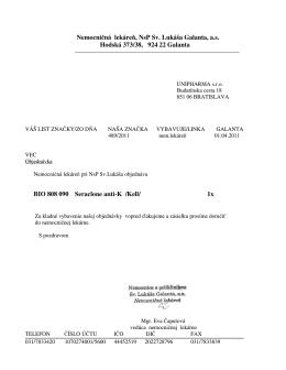 Nemocničná lekáreň, NsP Sv. Lukáša Galanta, a.s. Hodská 373/38