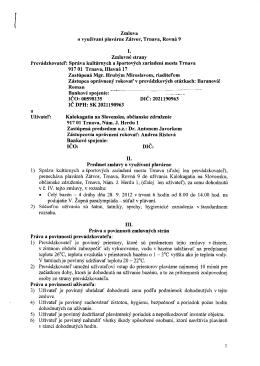 Zmluva ovyužívaní plavárne Zátvor, Trnava, Rovná 9 Zmluvné strany