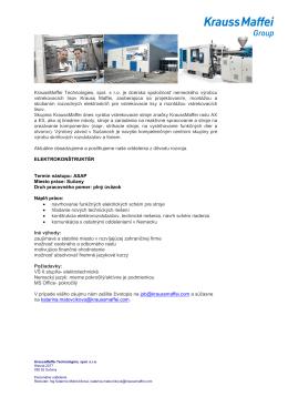 ELEKTROKONŠTRUKTÉR - KraussMaffei Technologies, spol. s r. o.