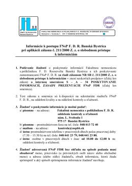Poskytovanie informácií podľa zákona 211/2000.